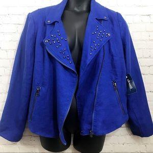 Eloquii blue stud lapel moto jacket size 20 NWT